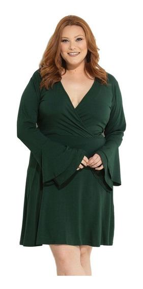 Vestido Plus Size Evangélico Executivo Social Verde