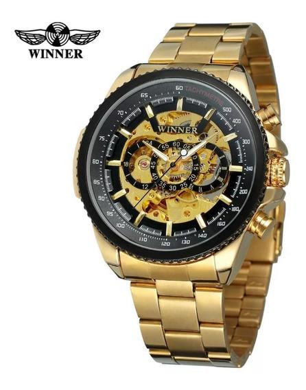 Relógio Masculino Winner Esqueleto Automático Promoção Luxo