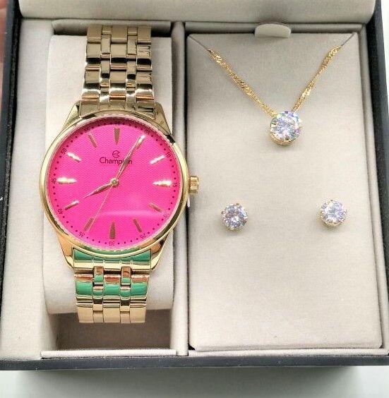 Relógio Champion Dourado Aço Rosa Pink Strass Cn29516j