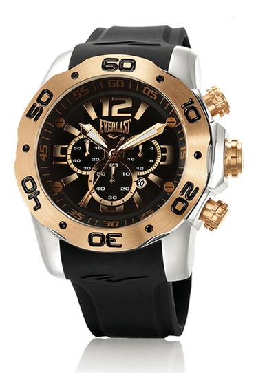 Relógio Pulso Everlast Masculino Cronógrafo Aço Preto E554