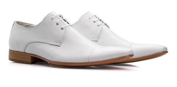 Sapato Social Masculino Branco Bico Fino De Cadarço - 307