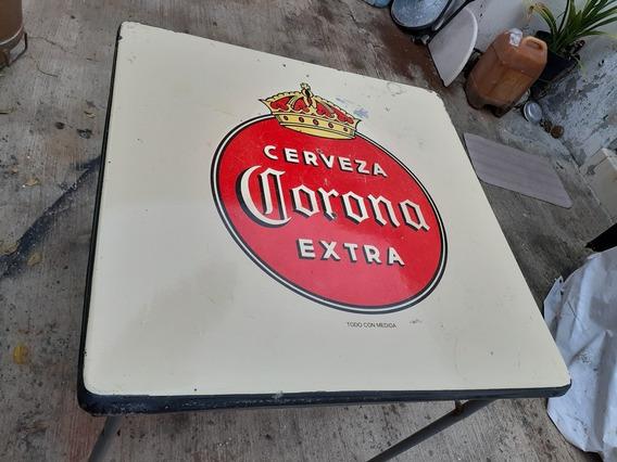 Mesa De Cerveza Corona Lamina Plegable Antigua