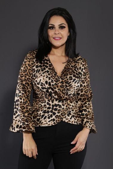 Camisa Feminina Decote V Animal Print Jaguar Moda Blogueira