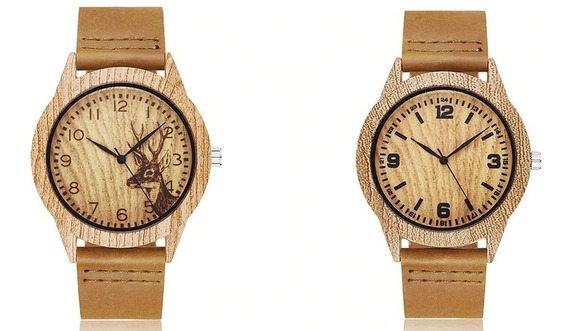 Relógio Imita Madeira
