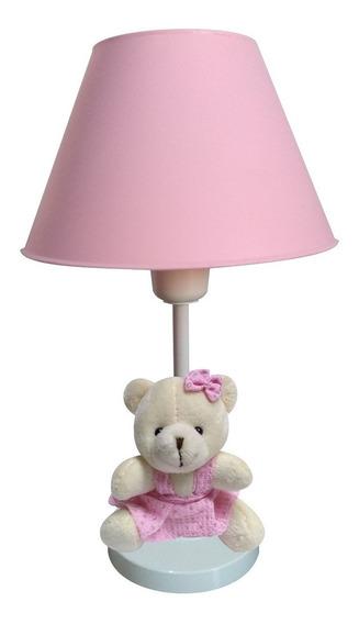 Abajur Infantil Ursinha Rosa P/ Cabeceira Quarto Bebê Menina