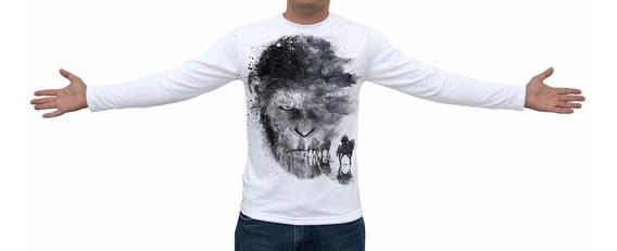 Camiseta Planeta Dos Macacos A Guerra - Manga Longa