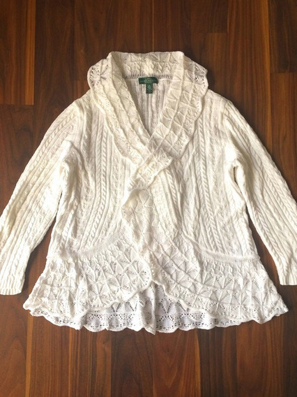 Cardigan Lã Feminino Ralph Lauren G Novo Original Importado