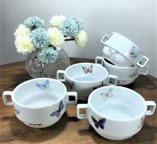 Kit 6 Bowls / Tigelas Porcelana Decor Borboletas