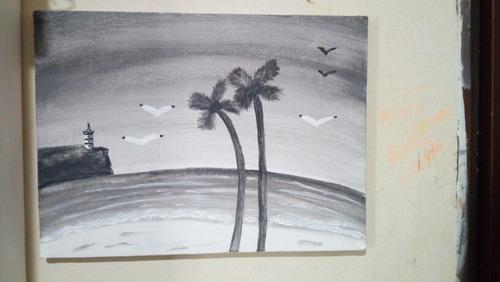 Cuadro De Atardecer En La Playa (blanco Y Negro) 12x16