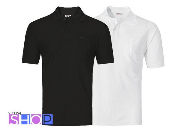 Camisa Polo Lisa Com Bolso Preta Ou Branca Vilejack Un/1