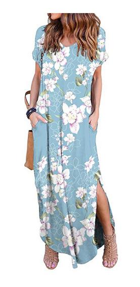 Vestido Casuales Largo Con Estampado Floral Manga Corta Dama