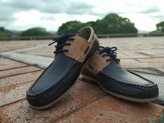 Zapatos Mocasines Nauticos Azul Beige M510 Caballero