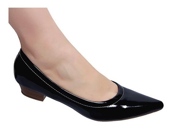 Sapato Feminio Scarpin Salto Baixo 2,5 Cm Social Fashion