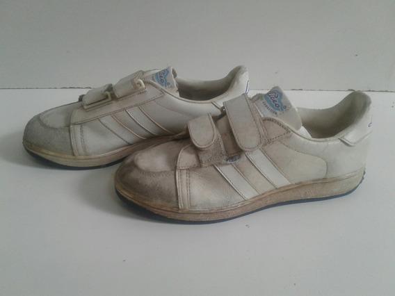 Zapatillas %100 Cuero Con Velcro Vintage