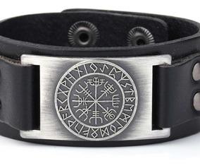 Pulseira Bracelete Masculino Couro Runas Viking Vegvisir