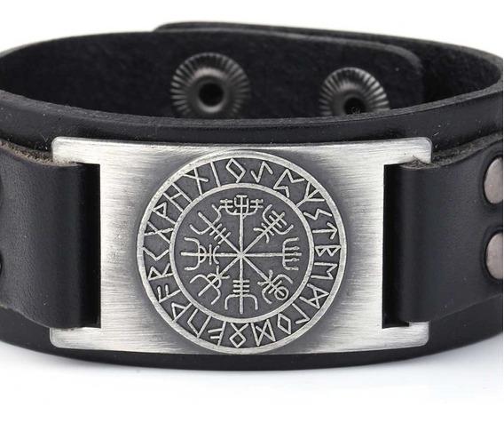 Pulseira Bracelete Viking Masculino Couro Runas Vegvisir