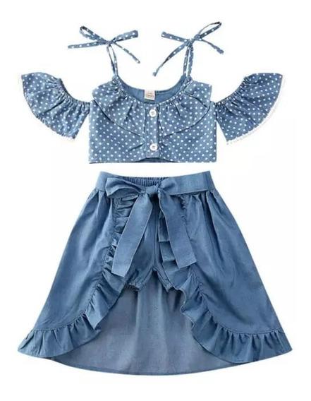Conjunto Bebe Niña Crop Top Azul Con Lunares Falda Short