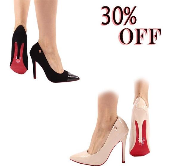 2 Scarpin Sapato Feminino Preto E Nude Moderno Solado Red *