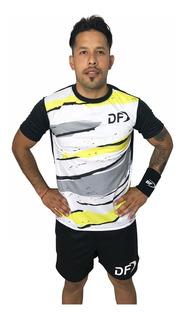 Remera Amarilla + Short Conjunto Deportivo Padel Tenis