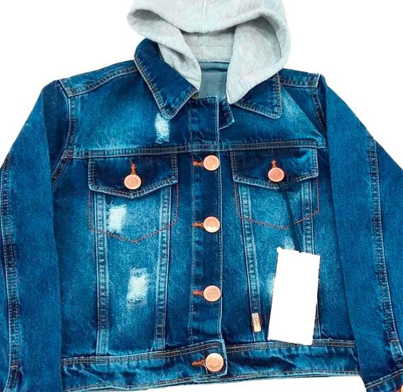 Jaqueta Jeans Feminina Infantil Destroyed Capuz Tam 08
