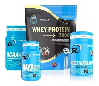 Whey Protein 1 Kg Gentech + Amino Bcaa 4000 + Oxido Nitrico Arginina + Vitaminas Y Minerales