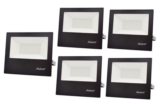 Kit 5 Refletor Led Holofote 50w Resistente Água Branco Frio