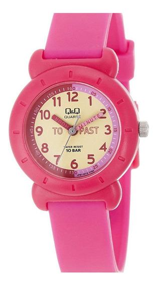 Relógio Infantil Feminino Rosa Fundo Amarelo Ponteiro + Nf