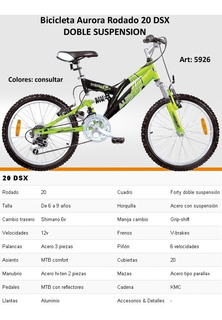 Bicicleta Aurora Doble Amortiguacion R 20 Vendo O Permuto
