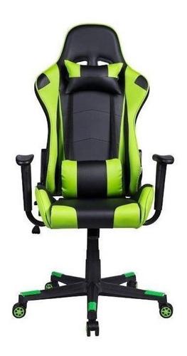 Cadeira de escritório Pelegrin 3012 gamer ergonômica preta e verde con estofado do couro sintético