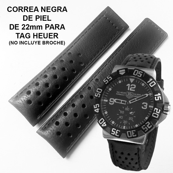 Extensible Correa Piel Negra Orificios 22mm Para Tag Heuer Fotos Reales Envio Inmediato