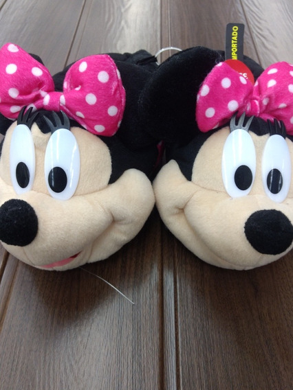 Pantufa 3d Minnie Mouse Disney Infantil Rosa Preto Menina
