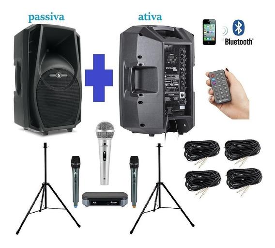 Kit Caixa Som Ps12 + Microfones + Mesa Som P/ Igreja - Frahm