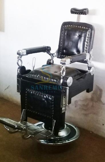 Cadeira De Barbeiro Restaurada Cor Preta Frete Grátis