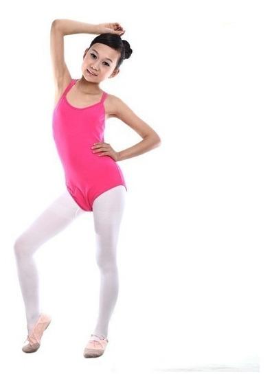 Leotardo Niña Ballet Danza Gimnasia Algodón Licra Cruzado