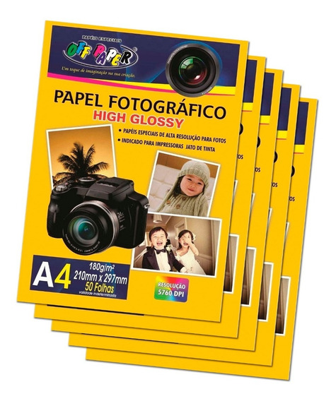Kit Com 5 Pacotes Papel Foto Fotográfico High Glossy 180g A4 210x297mm (cada Pacote Contem 50 Unidades) Alta Qualidade
