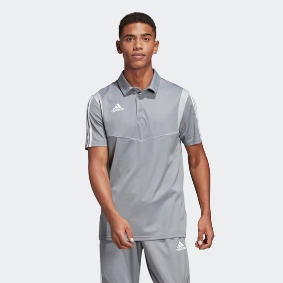Playera adidas Polo Gris Blanco