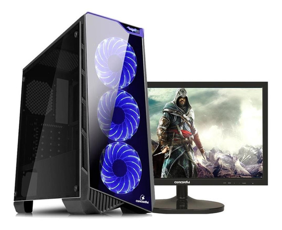 Pc Top Monitor Concórdia Ryzen 5 16gb Hd1tb 120gb 1050ti