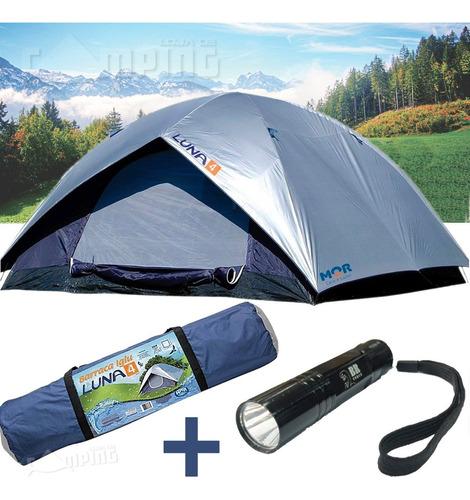 Imagem 1 de 4 de Barraca Acampamento 4 Pessoas Camping Impermeável + Lanterna
