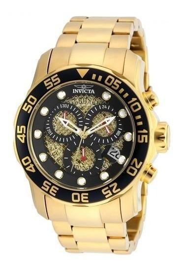 Relógio Invicta Masculino Pro Diver 19837 Banhado A Ouro 18k