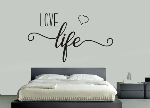 Vinil Para Decorar Paredes - Love Life Con Corazón 1.20x.70
