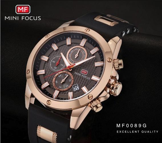 Relógio Masculino Original Social Dourado Minifocus Promoção