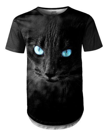 Camiseta Masculina Longline Swag Big Face Gato Negro