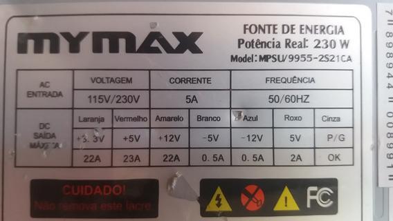 Fonte Mymax Model:mpsu/9955-2s21ca 24pinos 230w Sata