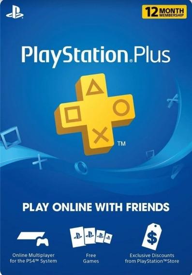 Cartão Psn Plus Play Station Plus 12 Meses Br Ps3/ps4