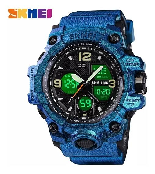 Relógio Masculino Skmei 1155 Azul Camaleão Com Frete Grátis