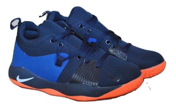 Kp3 Zapatos Niños Nike Paul George Azul Naranja Solo 33