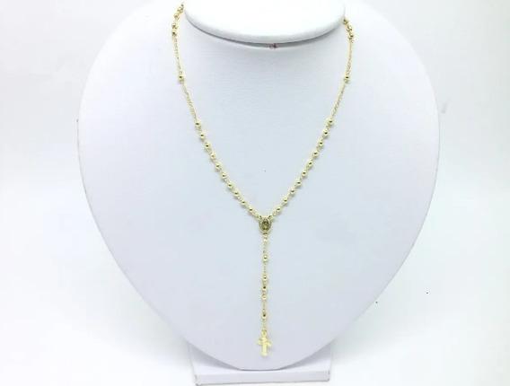 Colar Terço Feminino -45cm Banhado A Ouro 18k Perfeito