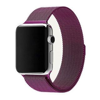 Pulseira Para Apple Watch 42mm Aço Inoxidavel Roxa Milanese