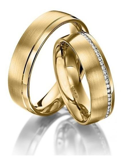 Alianças De Casamento De Ouro 18k E Diamantes Bem Casados