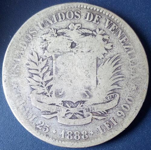 Moneda Fuerte De Plata De 5 Bolívares Del Año 1888
